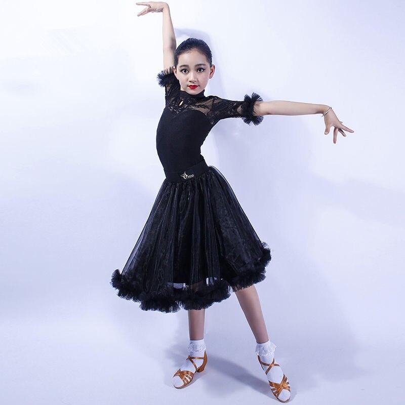 Image 3 - Girls Latin Dance Dress Tops + Skirt Ballroom Dance Dress for Kids Dancewear Child Tango Samba Dance Costumes Stage Performance-in Latin from Novelty & Special Use