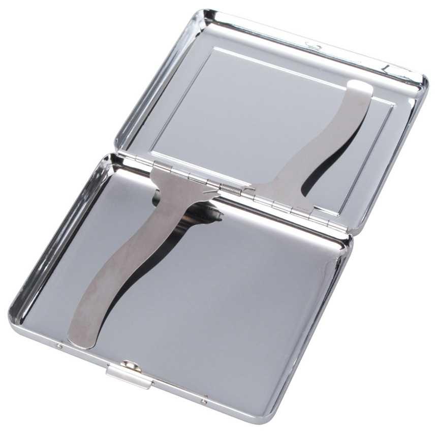 クラシックヒョウデザインステンレス鋼のシガレットケースボックス金属タバコホルダーポケットボックス 20 個喫煙アクセサリー混合色