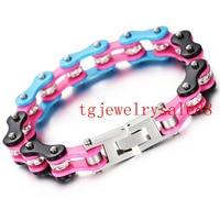 10mm Wide Black Blue Pink Tone 316L Stainless Steel Bracelets For Women Men Motorcycle Bangle Crystal