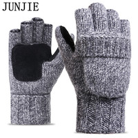 2017 Thick Male Fingerless Gloves Men Wool Winter Warm Exposed Finger Mittens Knitted Warm Flip Half