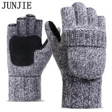 Zimní pánské půlprstové rukavice s polštářkem a kapsou na přikrytí prstů