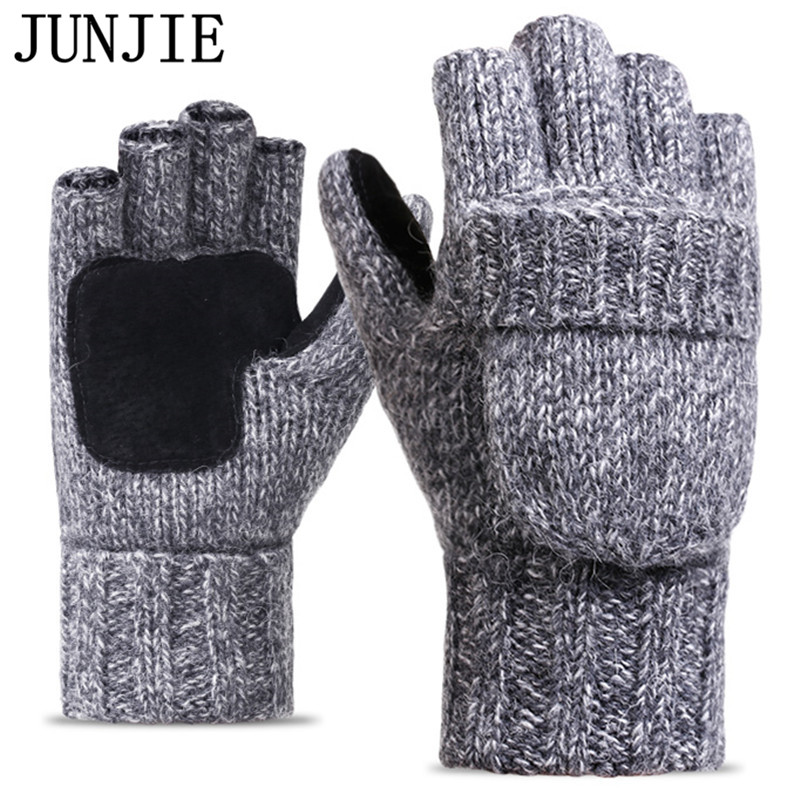 2019 Thick Male Fingerless Gloves Men Wool Winter Warm Exposed Finger Mittens Knitted Warm Flip Half Finger Gloves High Quality