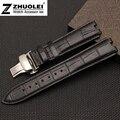 22mm Negro | Marrón 100% de La Mariposa de cuero Reloj de la correa Pulseras reemplazar Pebble Steel2 correas de reloj