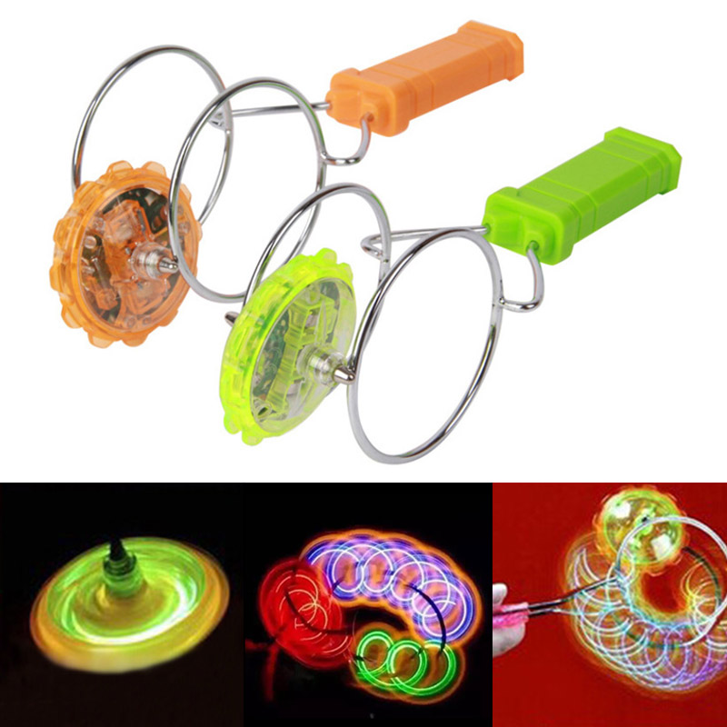 1 Pcs Light-up Magnetic Gyro Wheels Funny Flashing Light Spin Toy For Kids M09