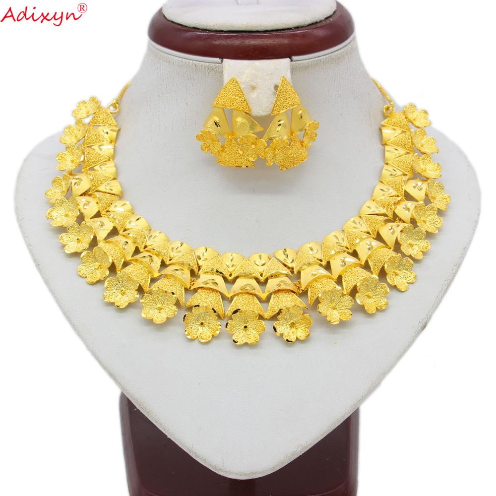 Adixyn Tree Necklace&Earrings Jewelry Set for Women Gold Color /Copper Jewelry African/Ethiopian Bridal Wedding Gifts N06088(China)