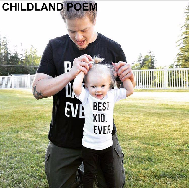 BEST PAPA CHILD EVERY Family Summer Matching Short Sleeve Cotton Clothes