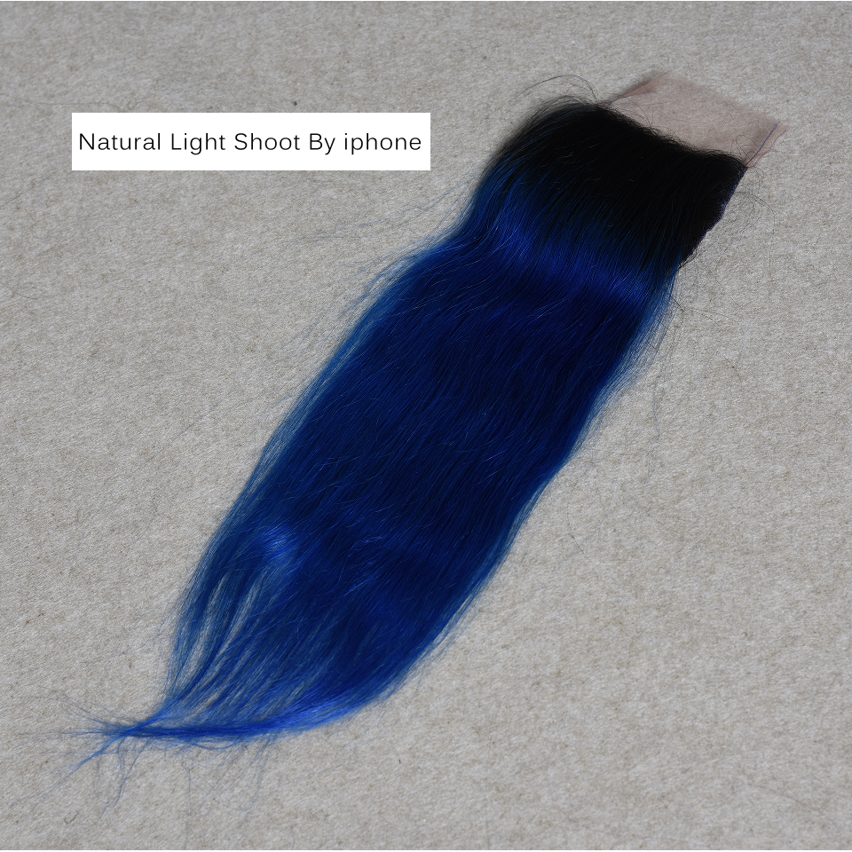 Doozy Brazilian Hair Ombre 1b/Blue Straight Remy Human Hair Lace Closure