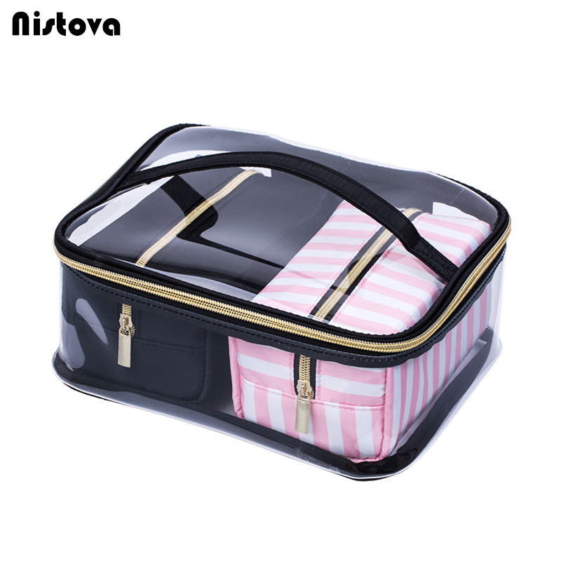 244d9aa4f8 3Pcs Women s Clear PVC Cosmetic Bag Portable Waterproof Wash Makeup Storage  Organizer Case Travel Toiletry Pouch Necessaire Trip