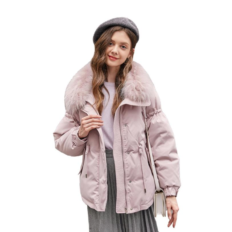 Sweet style winter new fashion brand   down     coats   female big fur collar Adjustable Waist pink   down   jackets women outerwear gx1661