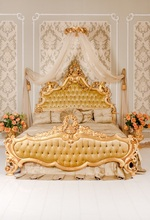 Laeacco Boudoir Luxury Curtain Flowers Bed Headboard Photography Backgrounds Customized Photographic Backdrops For Photo Studio