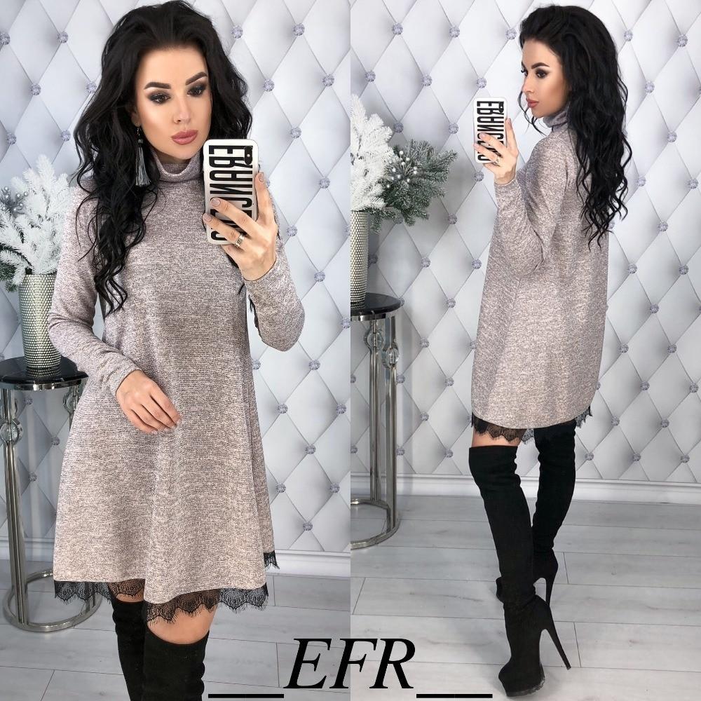 ad920497e4bb New Winter Spring Turtleneck A-line Lace Hem Long Sleeve Solid Causal Mini Dress  Women