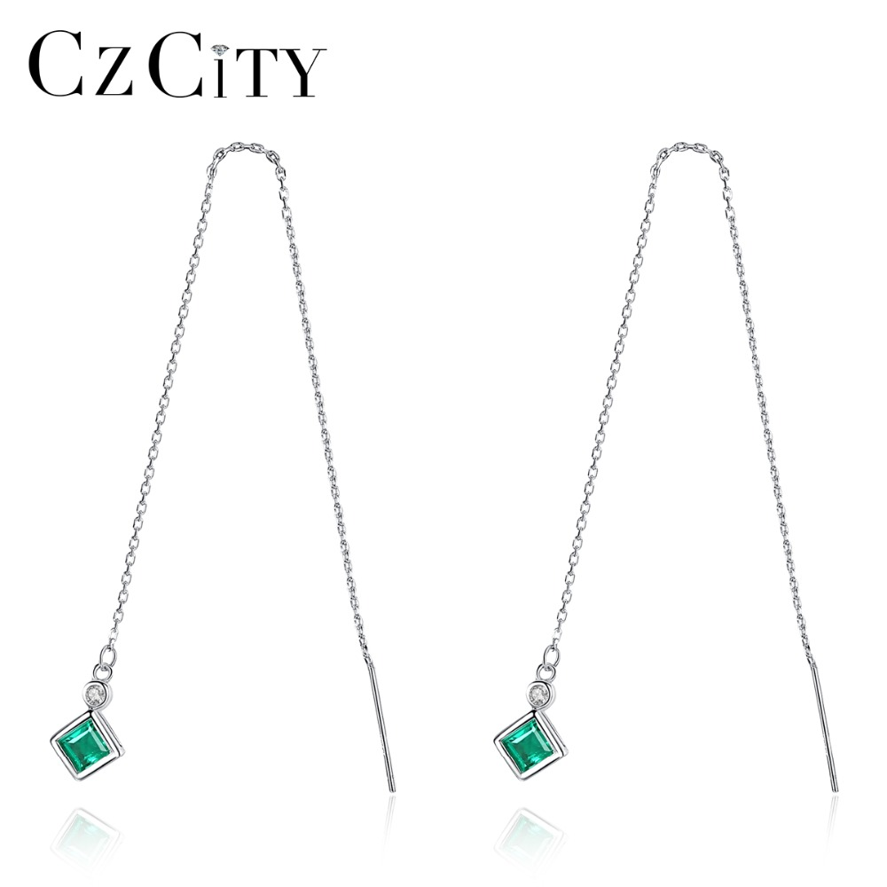 Jewelry & Accessories Faithful Czcity Pure 925 Sterling Silver Long Link Chain Dangle Earrings Fascinating 4mm Square Stone Boucles Doreilles Pour Les Femmes Fine Jewelry