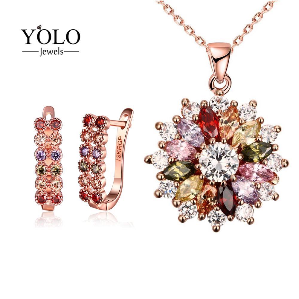 лучшая цена YOLO Jewels Jewelry Set for Women Bohemia Rose Gold Color Flower Design Multicolor Cubic Zirconia Necklace Stud Earrings