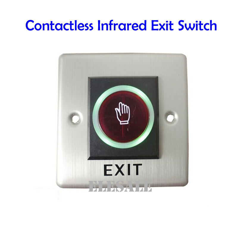 Infrared Exit Button 86x86mm No Touch Contactless Door Release Unlock Switch LED Light For Access Control System Wholesale diysecur infrared contactless bule backlight touch exit button door release switch for access control free shipping