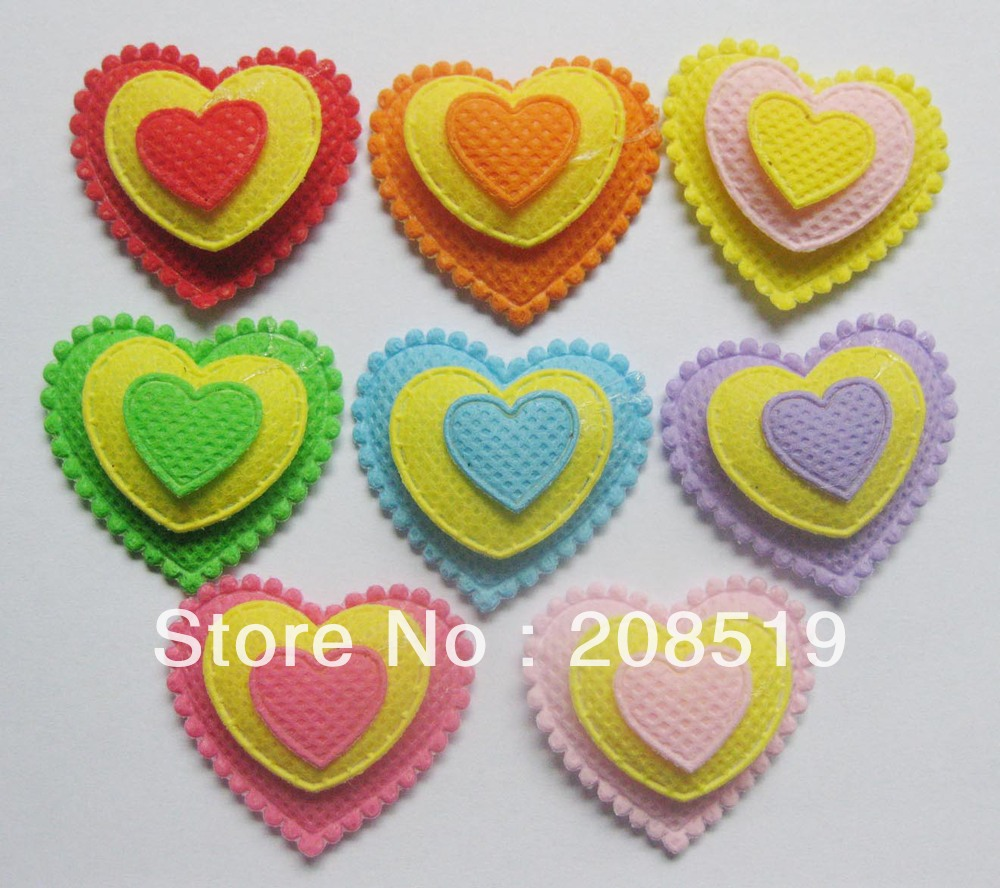 PA0004 three layers felt appliques 200pcs 8 colors 32mm 35mm heart shape DIY craft accessory in Patches from Home Garden