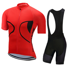 все цены на 2018 Summer Red Pro Team Cycling Set MTB Bike Clothing Racing Bicycle Clothes Maillot Ropa Ciclismo Cycling Jersey Sets онлайн