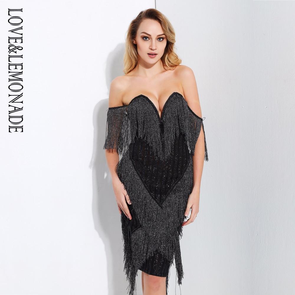 Love Lemonade Black Deep V Collar Tassel Stitching Striped Dress LM0725