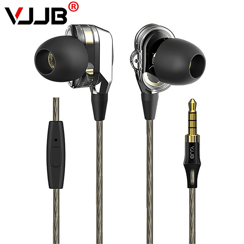 VJJB V1 V1S Earphone with Mic Dual Driver Speakers HIFI Quality Sound Metal In Ear Headset Stereo Bass Monitor Sport Earbuds original senfer dt2 ie800 dynamic with 2ba hybrid drive in ear earphone ceramic hifi earphone earbuds with mmcx interface