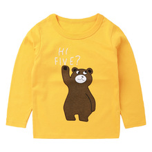 2019 new Kids clothes spring and autumn T-shirt boys and girls casual Tops children cartoon cotton baby long-sleeved bear Tshirt boys and girls cartoon sweaters 2017 autumn winter new children knitting clothes baby casual cotton knit wear pullover tops 3 8y