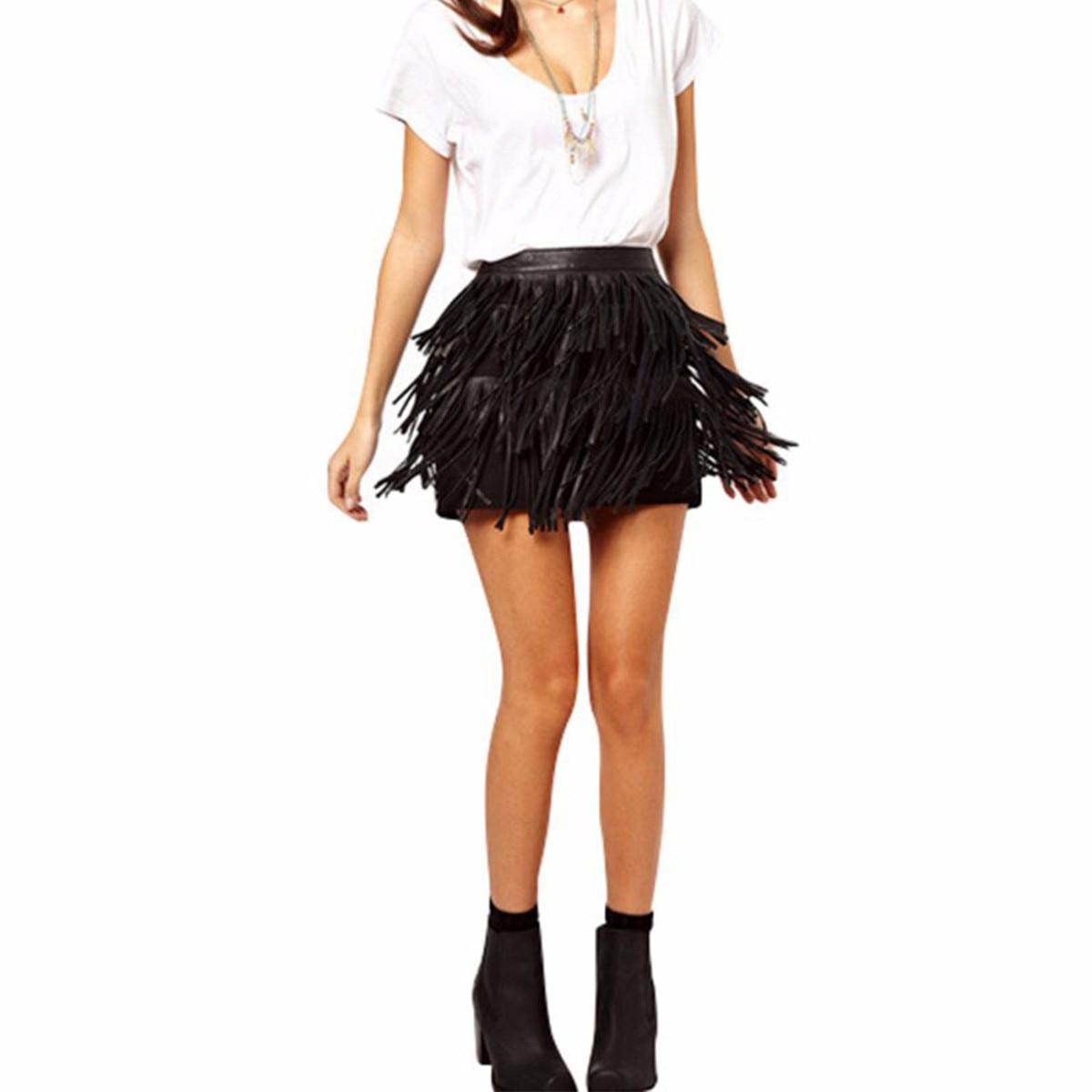 Горячая распродажа 2016 лето мода Zanzea женщины искусственная кожа лоскутная юбки-line свободного покроя кисточкой молния украшение высокая талия юбка