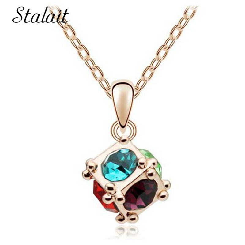 New arrival round Ball Drop chain pendant necklace Austrian Crystal 18KGP float floating Cubic NECKLACE Jewelry Gold Color colar