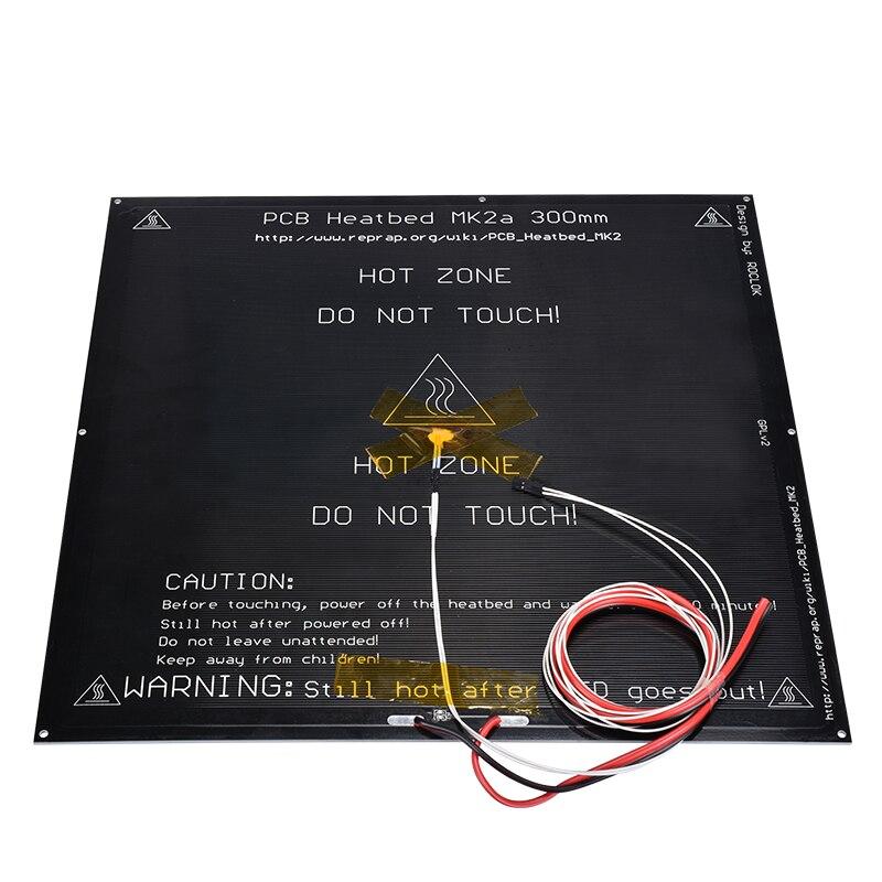 1 PC MK2A 300*300*2.0mm 12 v RepRap rampes 1.4 PCB lit chauffant + résistance de LED + câble + thermistances pour Mendel pour imprimante 3D MK2B