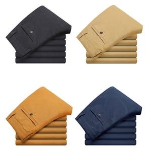 Image 4 - VOMINT 2020 New Mens Casual Pants Elasticity Trousers Regular Straight Smart Business Pant Black Blue Khaki Big Size 42 44 46