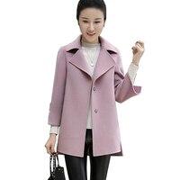 2017 Automne Hiver nouvelles femmes de mode manteau Plus La taille Laine dames manteau élégant moulante cocon laine manteau Solide couleur tops Outwear