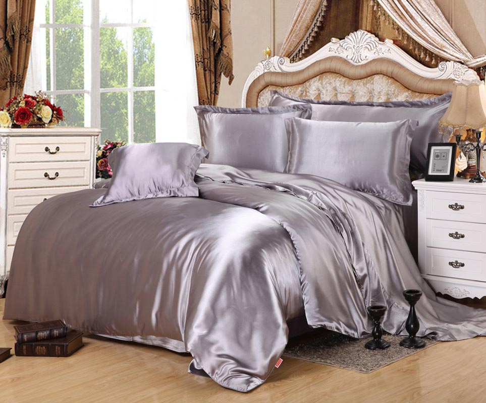 home textile solid satin 3 4pcs twin full queen king size
