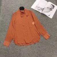 Летняя блузка рубашка Для женщин модные топы с длинными рукавами и блузки 2019 одноцветное воротник бант офисные блузки Для женщин