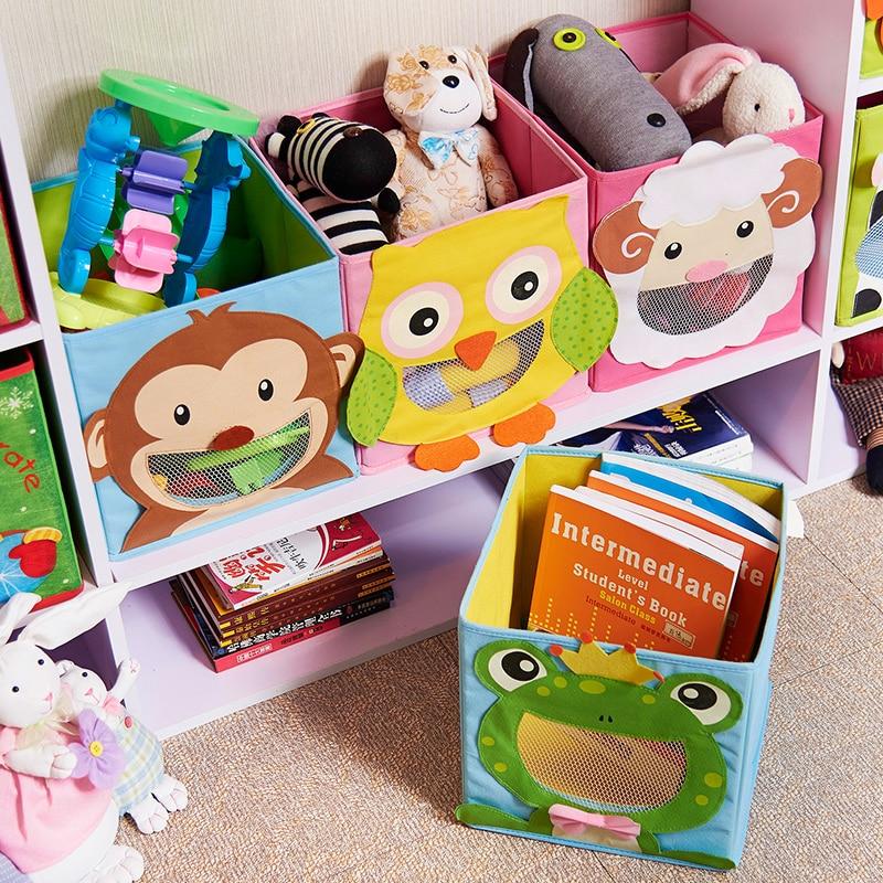 New 3D Cartoon Non-Woven Kid Toys Storage Bins Animal Embroidery Foldable Clothes Storage Box For Underwear Organizer Rangement