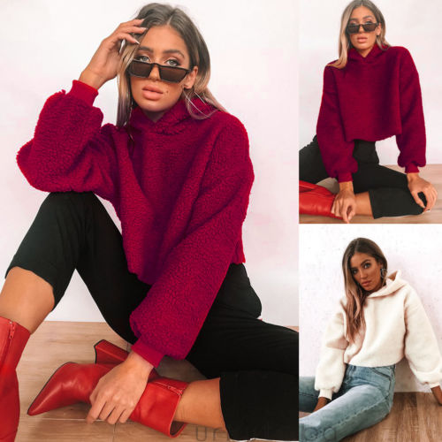 2018 Autumn Winter Women Hoodies Fleece Hooded Long Sleeve Solid Thicken Coat Outwear Fashion Jacket Sweatshirts Ladies