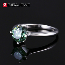 ea94547d1897 GIGAJEWE Color verde cuatro Prong ajuste 2.0ct tamaño grande Moissanite piedra  plata bandas para la mano derecha de anillos y Re.