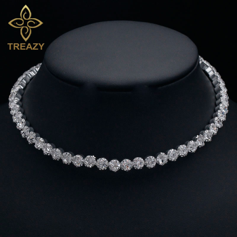 TREAZY Bridal Fashion Crystal Rhinestone Choker Necklace Women Wedding Accessories Silver Chain Chokers Jewelry Collier Femme(China)