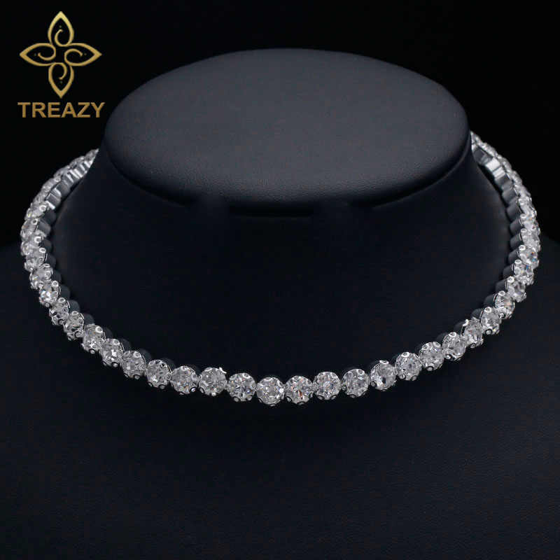 TREAZY Bridal Fashion Crystal Rhinestone Choker Necklace Women Wedding Accessories Silver Chain Chokers Jewelry Collier Femme
