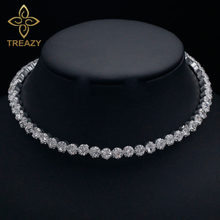 Treazy Bridal Fashion Kristal Berlian Imitasi Kalung Wanita Pernikahan Aksesoris Tenis Chain Choker Perhiasan Collier Femme(China)