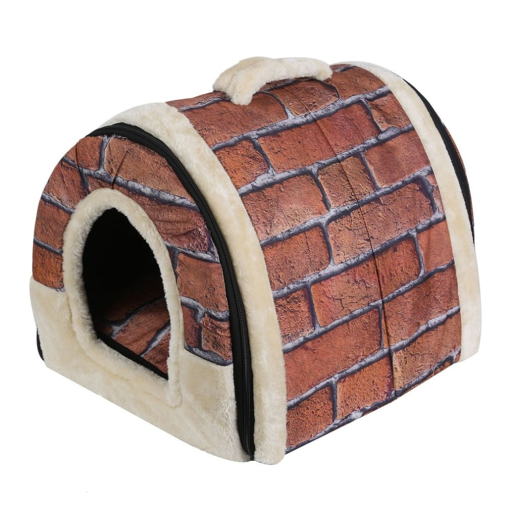 Portable Foldable Puppy Dog Cat House with Mat Kennel Nest Soft Bed Bag for Small Medium ...