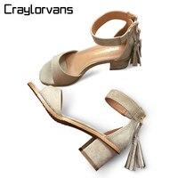 סנדלי נשים עור אמיתי באיכות מעולה Craylorvans עור אמיתית מישמש נעלי נשים קיץ 5 ס