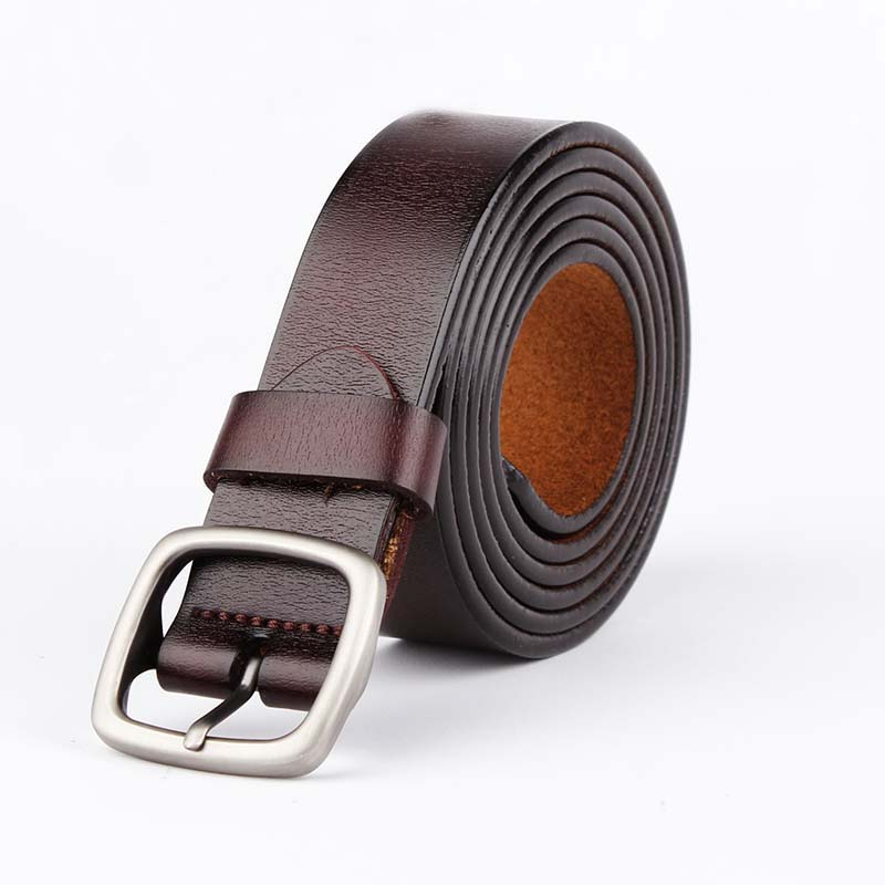 F&u Cow Genuine Leather Belt Luxury Strap Dress And Jeans Belts For Women Fashion Vintage Shining Black Buckle 4 Colors Choice Women's Belts