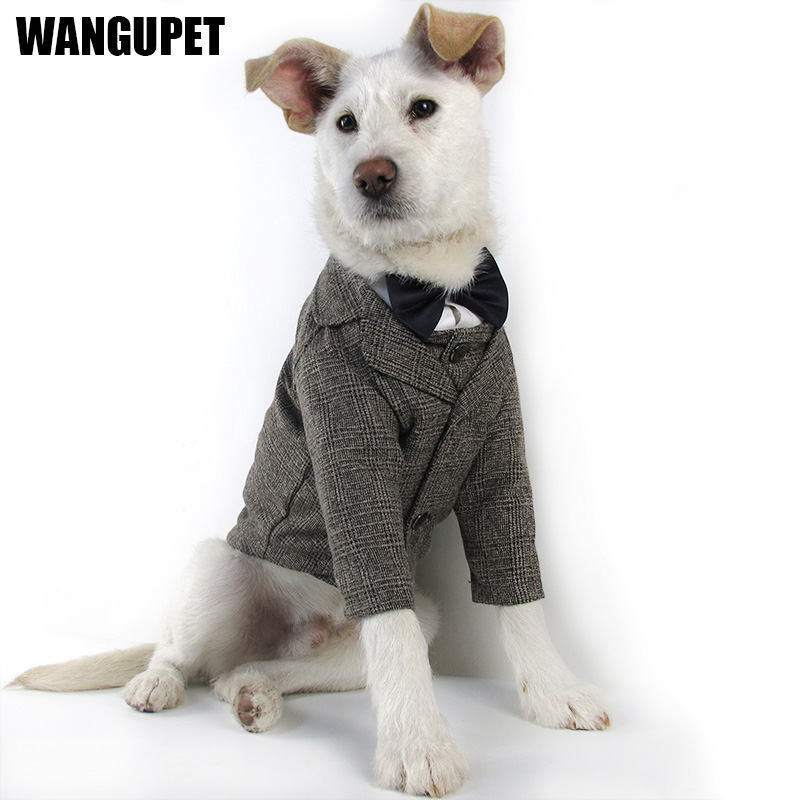 WANGUPET Sack Suit Woollen Coat and Vest Dog Clothes Wedding Party Suits For Small Dogs and Cat Pet Clothes Dog Coat Pet Costume