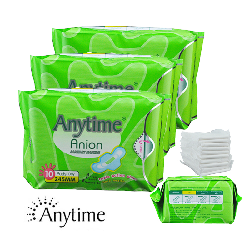 Lady Anion Serviette Hygiénique Coton Doublure Culotte Protections Menstruelles Garantie de Qualité à 100% 3 Paquets (30 Plaquettes) Plaquettes anion ions négatifs