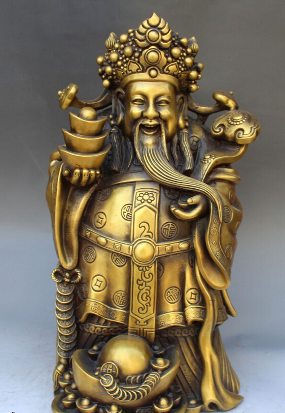 bi002331 16 Chinese Fengshui Bronze Wealth Money Yuanbao Mammon God Ru Yi Stand Statuebi002331 16 Chinese Fengshui Bronze Wealth Money Yuanbao Mammon God Ru Yi Stand Statue