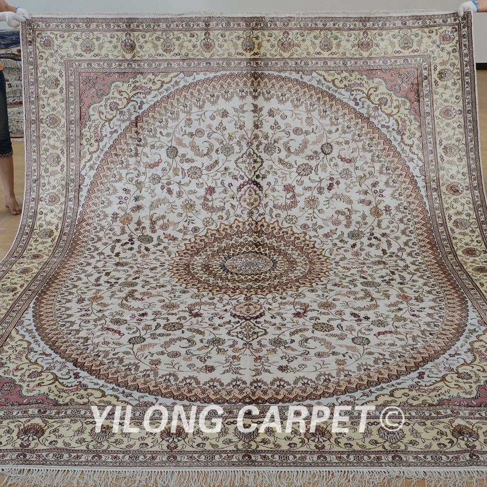 Yilong 8 X10 Handmade Turkish Carpets Beige Medallion Exquisite Persian Rug Dealers 1261