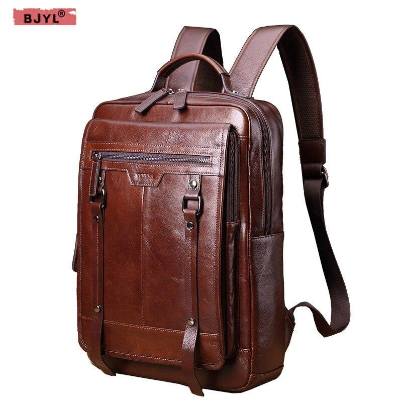 BJYL Véritable en cuir Hommes sacs à dos rétro casual 15 sac d'ordinateur portable mode masculine grande capacité d'épaule Sac de voyage sac marée sac à dos