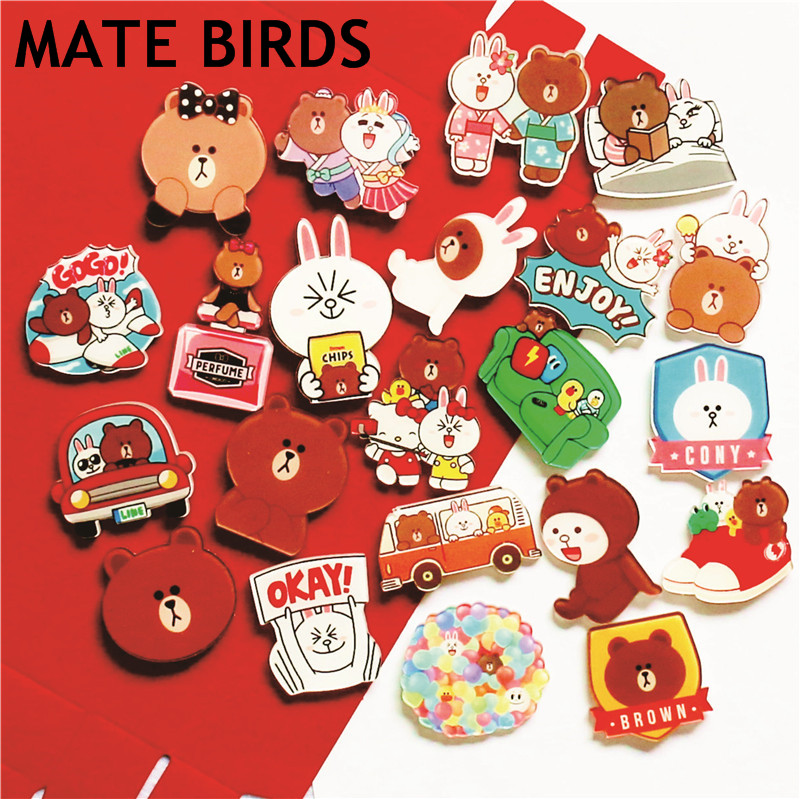 MATE BIRDS Fridge Magnets Acrylic Color Cute Brown Bear Gift Souvenir Message Convenience Magnetic Sticker Household Goods
