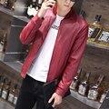 motorcycle leather jacket men fashion 2016 new slim fit biker jacket baseball collar autumn casual pu leather coat veste homme