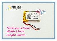 Batería de polímero de litio de la mejor marca 3 7 v 651730 330mah juguetes pequeños MP3 MP4 navegación GPS energía móvil 701.730