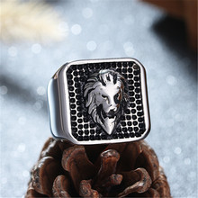 Mens Lion Head Shield Ring stainless steel Fashion Cool Finger