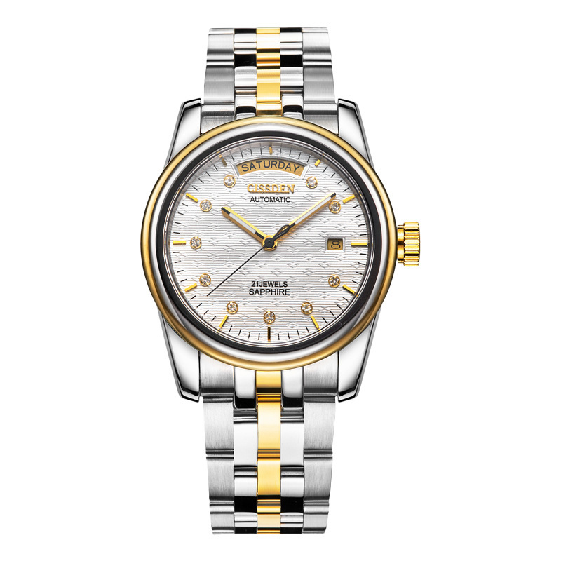 Automatic Wrist Watch Man Golden Steel Bring Mechanics Surface Business Affairs Noctilucent Waterproof Wrist Watch 876514 Mechanical Watches     - title=