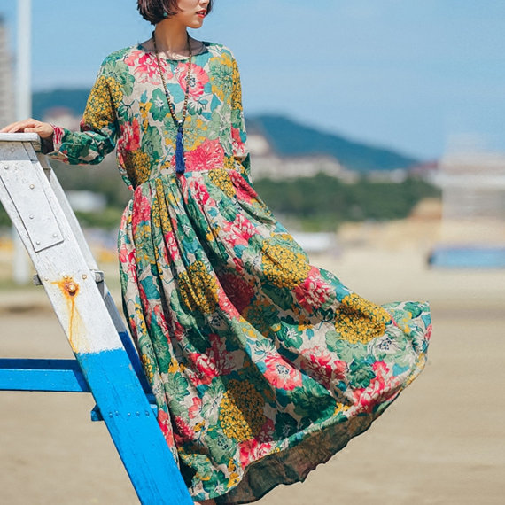 Women Flower Print Linen Dress Long Pleated Dress Spring Autumn Cotton Dress Long Sleeve Tunic Dress Oversiezd Maxi Clothing sun flower print pleated dress